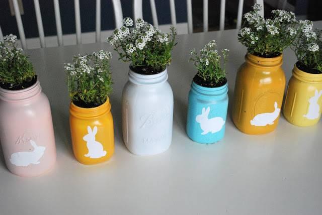 Mason Jar Easter Center Piece